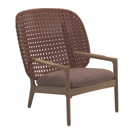 "Gloster High Back Lounge Chair ""Kay"", Gestell Teak, Geflecht Polyrattan copper, Kissen Stoffgruppe B fife warm rose"