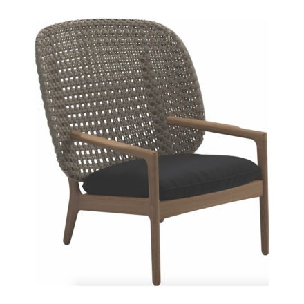"Gloster High Back Lounge Chair ""Kay"", Gestell Teak, Geflecht Polyrattan harvest, Kissen Stoffgruppe B fife soot blue"
