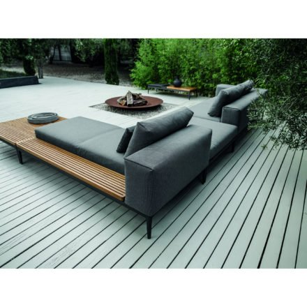 """Gloster Lounge Left / Right Chaise Unit Teak """"Grid"""", Gestell Aluminium meteor, Bezug Stoffgruppe A granite (recycelt)"""