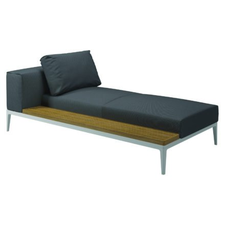 """Gloster Lounge Left / Right Chaise Unit Teak """"Grid"""", Gestell Aluminium weiß, Bezug Stoffgruppe A anthracite (recycelt)"""