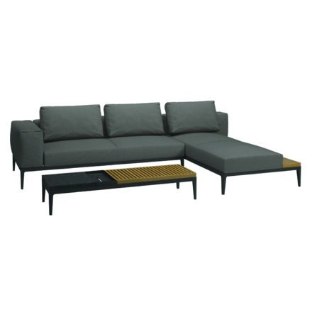"""Gloster Lounge Left / Right End Unit, Chaise & Loungetisch """"Grid"""", Gestell Aluminium meteor, Bezug Stoffgruppe A granite (recycelt)"""