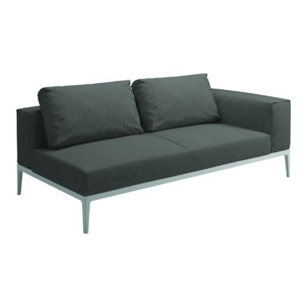 """Gloster Lounge Left / Right End Unit """"Grid"""", Gestell Aluminium weiß, Bezug Stoffgruppe A granite (recycelt)"""