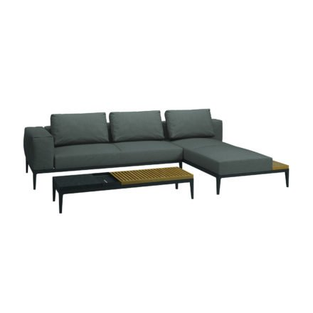 "Gloster Loungeserie ""Grid"", Coffee Table, Gestell Aluminium meteor, Tischplatte Teak und Keramik nero"