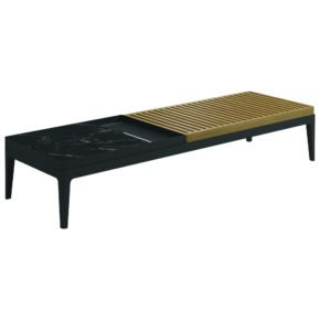 "Gloster Coffee Table ""Grid"", Gestell Aluminium meteor, Tischplatte Teak und Keramik nero"