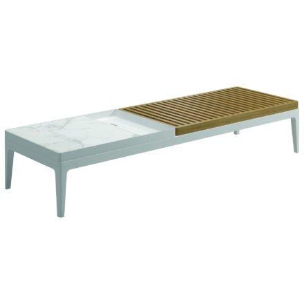 """Gloster Coffee Table """"Grid"""", Gestell Aluminium weiß, Tischplatte Teak und Keramik bianco"""