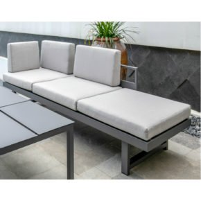 "Home Islands Loungebank/Liege ""Patong"", Gestell: Aluminium charcoal matt, Farbe Kissen: light grey"