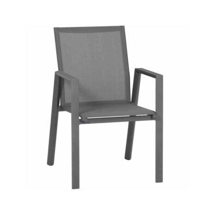 Siena Garden Stapelsessel Calun, Gestell Aluminium matt graphit, Sitzfläche Textilgewebe grau