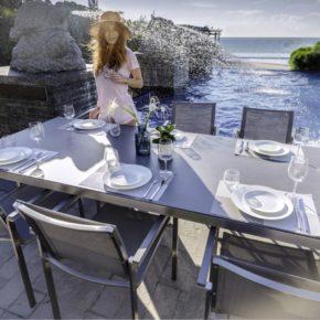"""Home Islands Gartenmöbel-Set """"Asuka/Miharu"""" – 8 Stühle und 1 Tisch"""