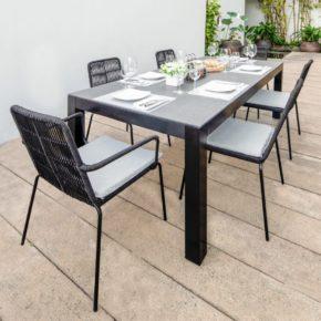 """Home Islands Gartenmöbel-Set """"Tycoon/Panay"""" – 6 Stühle mit Armlehnen und 1 Tisch"""