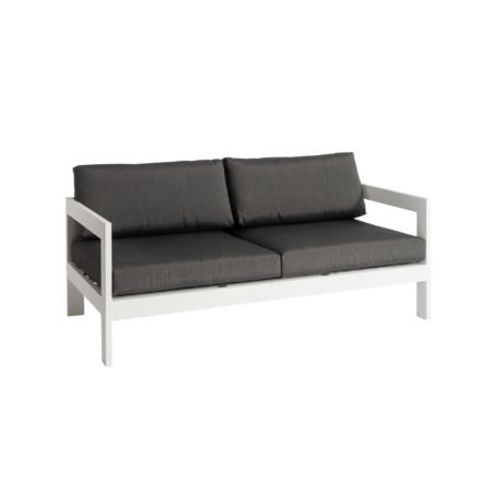 """Jati&Kebon """"Vigo"""" 2-Sitzer Loungesofa, Gestell Aluminium weiß mit Sitz- und Rückenkissen charcoal"""