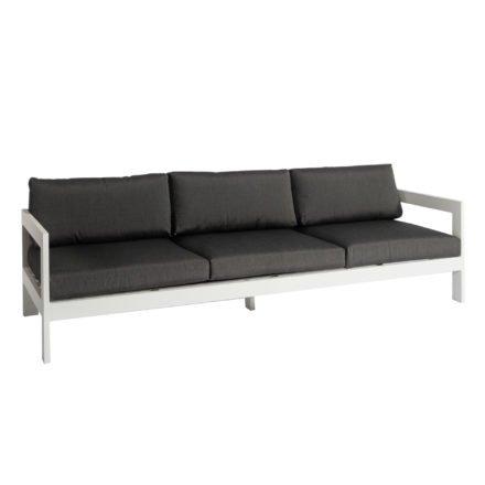 """Jati&Kebon """"Vigo"""" 3-Sitzer Loungesofa, Gestell Aluminium weiß mit Sitz- und Rückenkissen charcoal"""