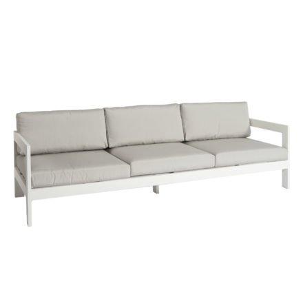 """Jati&Kebon """"Vigo"""" 3-Sitzer Loungesofa, Gestell Aluminium weiß mit Sitz- und Rückenkissen shingles"""