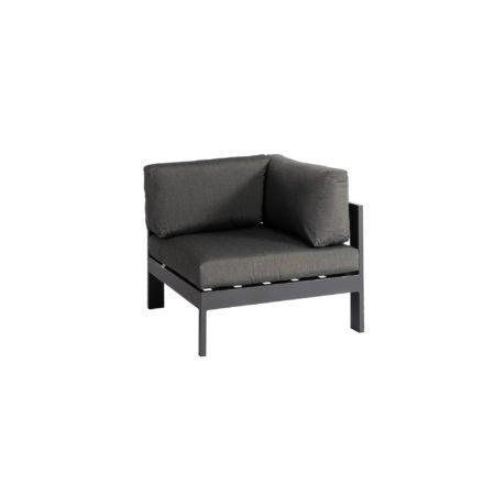 """Jati&Kebon """"Vigo"""" Lounge-Eckteil, Gestell Aluminium eisengrau mit Sitz-, Rücken und Ergänzungskissen charcoal"""