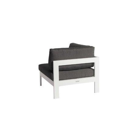 """Jati&Kebon """"Vigo"""" Lounge-Eckteil, Gestell Aluminium weiß mit Sitz- Rücken und Ergänzungskissen charcoal"""