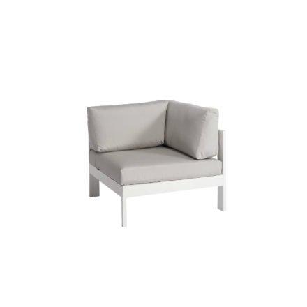 """Jati&Kebon """"Vigo"""" Lounge-Eckteil, Gestell Aluminium weiß mit Sitz- Rücken und Ergänzungskissen shingles"""