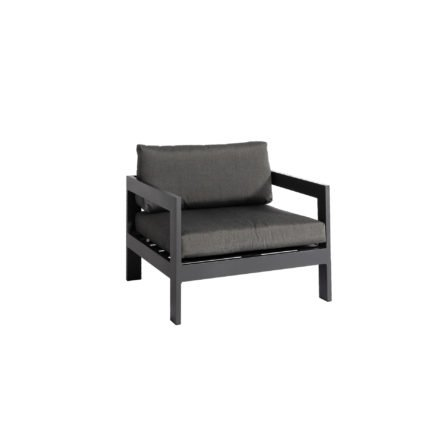"Jati&Kebon ""Vigo"" Loungesessel, Gestell Aluminium eisengrau mit Sitz- und Rückenkissen charcoal"
