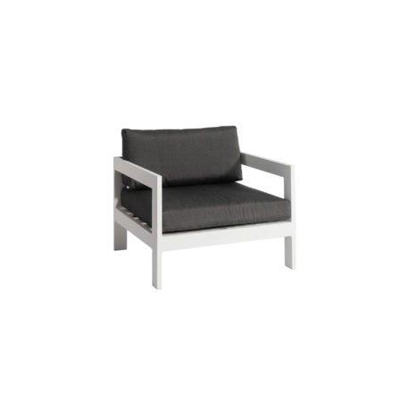 """Jati&Kebon """"Vigo"""" Loungesessel, Gestell Aluminium weiß mit Sitz- und Rückenkissen charcoal"""