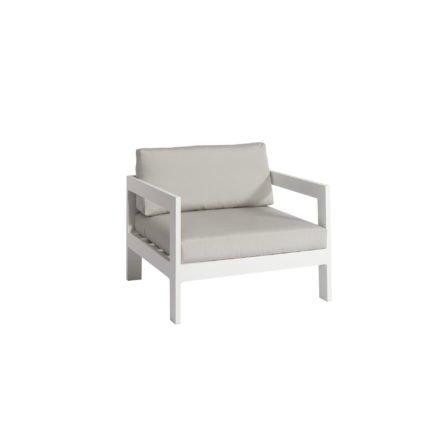 """Jati&Kebon """"Vigo"""" Loungesessel, Gestell Aluminium weiß mit Sitz- und Rückenkissen shingles"""