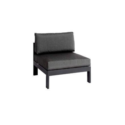 """Jati&Kebon """"Vigo"""" Lounge-Mittelteil, Gestell Aluminium eisengrau mit Sitz- und Rückenkissen charcoal"""