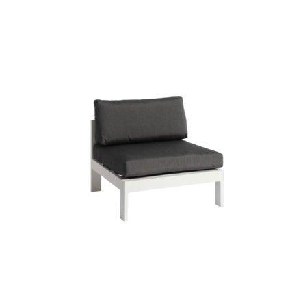 """Jati&Kebon """"Vigo"""" Lounge-Mittelteil, Gestell Aluminium weiß mit Sitz- und Rückenkissen charcoal"""