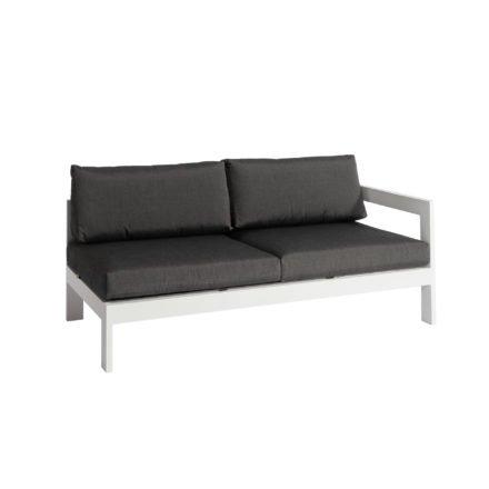 """Jati&Kebon """"Vigo"""" Lounge-Seitenteil links, Gestell Aluminium weiß mit Sitz- und Rückenkissen charcoal"""