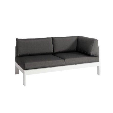 """Jati&Kebon """"Vigo"""" Lounge-Seitenteil links, Gestell Aluminium weiß mit Sitz-, Rücken und Ergänzungskissen charcoal"""