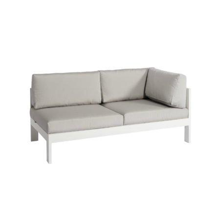 """Jati&Kebon """"Vigo"""" Lounge-Seitenteil links, Gestell Aluminium weiß mit Sitz-, Rücken und Ergänzungskissen shingles"""