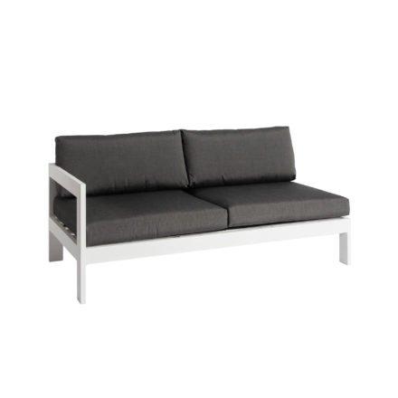 """Jati&Kebon """"Vigo"""" Lounge-Seitenteil rechts, Gestell Aluminium weiß mit Sitz- und Rückenkissen charcoal"""