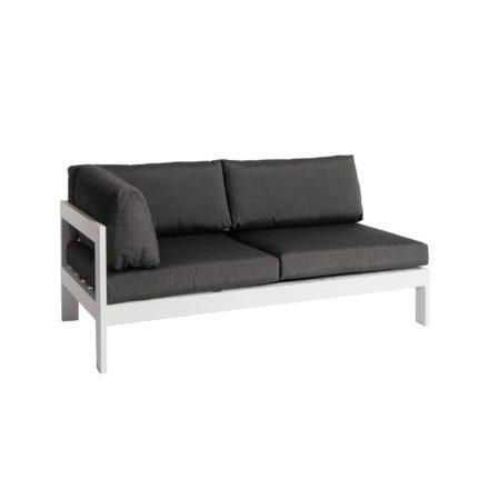 """Jati&Kebon """"Vigo"""" Lounge-Seitenteil rechts, Gestell Aluminium weiß mit Sitz-, Rücken- und Ergänzungskissen charcoal"""