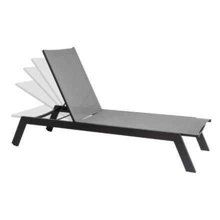 """Jati&Kebon """"Vigo"""" Sonnenliege, Gestell Aluminium eisengrau, Textil-Bespannung silbergrau"""