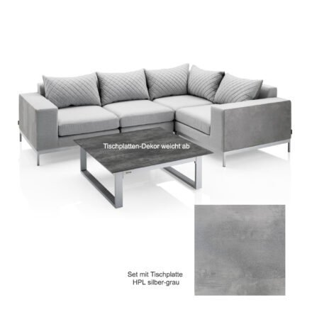 """Kettler """"Ego Modular"""" Loungegruppe mit 2 Endteilen, Mittelteil , Eckteil und Loungetisch rechteckig """"Ego"""", Tischplatte HPL silber-grau"""