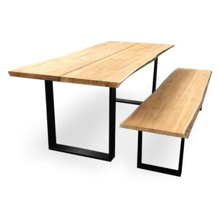 "Niehoff Gartentisch & Gartenbank ""Solid"", Gestell Aluminium anthrazit, Tischplatte & Sitzfläche Teakholz"