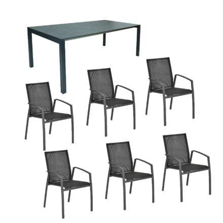 """SIT Mobilia Gartenmöbel-Set mit Stuhl """"Argentina"""" & Ausziehtisch """"Etna"""", Alu eisengrau, Tischplatte HPL Oxido Bluestone, 160/220x95 cm, Sitzfläche Textilgewebe schwarz"""