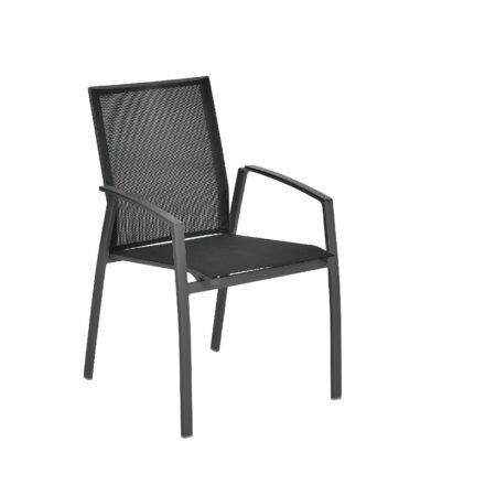 """SIT Mobilia """"Argentina II"""" Stapelstuhl, Gestell Aluminium eisengrau, Textilen Schwarz"""