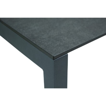 "SIT Mobilia ""Etna"" Ausziehtisch, Gestell Aluminium eisengrau, Tischplatte HPL Oxido Bluestone, Detail"