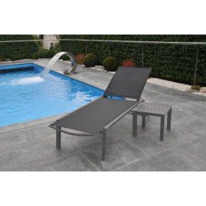 """SIT Mobilia Sonnenliege """"Salta"""", Gestell Aluminium Eisengrau, Bespannung Textilen Schwarz, Tisch """"Salta"""""""