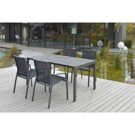 "SIT Mobilia Stapelstuhl ""Argentina"", Gestell Aluminium eisengrau, Bespannung Textilen schwarz"
