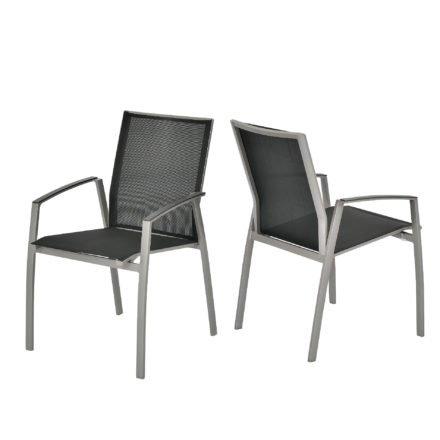 """SIT Mobilia Stapelstuhl """"Argentina"""", Gestell Aluminium polarsilber, Bespannung Textilen schwarz"""