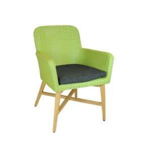"SIT Mobilia Gartenstuhl ""Ruby"", Gestell Teakholz, Geflecht Polyrattan grün, inkl. Kissen Copacobana schwarz"