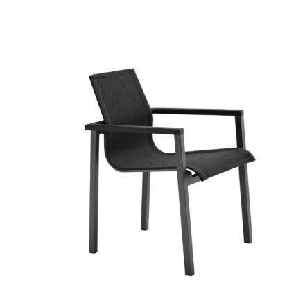 "Solpuri Stapelsessel ""Sky"" mit Aluminiumgestell anthrazit und Aluminium-Armlehne in schwarz, Sitz- und Rückenfläche Softex Coal"