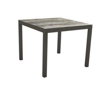Stern Tischsystem Gartentisch, Gestell Aluminium anthrazit, Tischplatte HPL Tundra grau, Maße: 80x80 cm