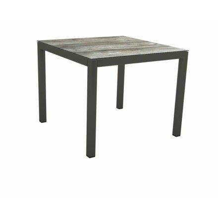 Stern Tischsystem Gartentisch, Gestell Aluminium anthrazit, Tischplatte HPL Tundra grau, Maße: 90x90 cm