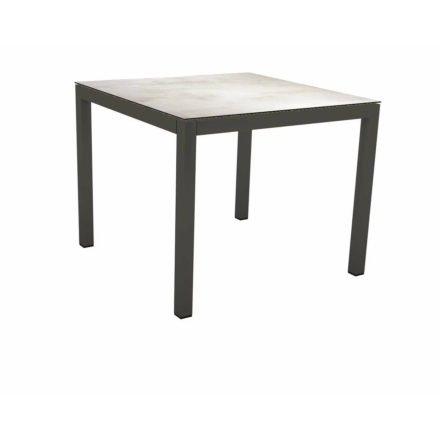Stern Tischsystem Gartentisch, Gestell Aluminium anthrazit, Tischplatte HPL Zement hell, Maße: 80x80 cm