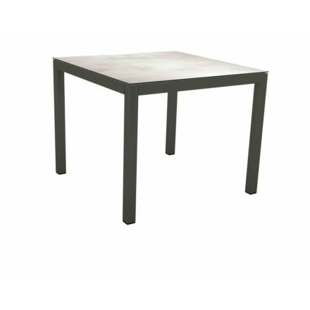 Stern Tischsystem Gartentisch, Gestell Aluminium anthrazit, Tischplatte HPL Zement hell, Maße: 90x90 cm
