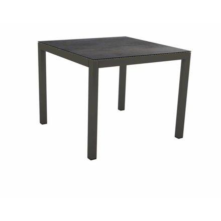 Stern Tischsystem Gartentisch, Gestell Aluminium anthrazit, Tischplatte HPL Nitro, Maße: 90x90 cm