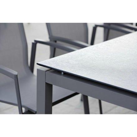 Stern Tischsystem Gartentisch, Gestell Aluminium anthrazit, Tischplatte HPL Smoky