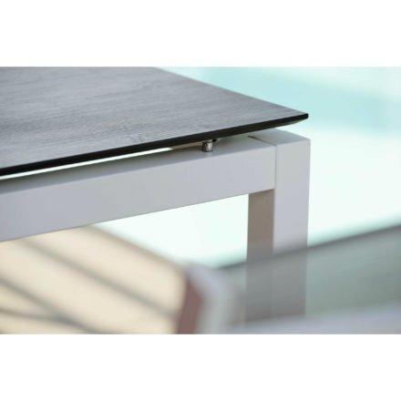 Stern Tischsystem, Gestell Aluminium weiß, Tischplatte HPL Tundra grau