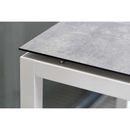 Stern Tischsystem, Gestell Aluminium weiß, Tischplatte HPL Vintage stone