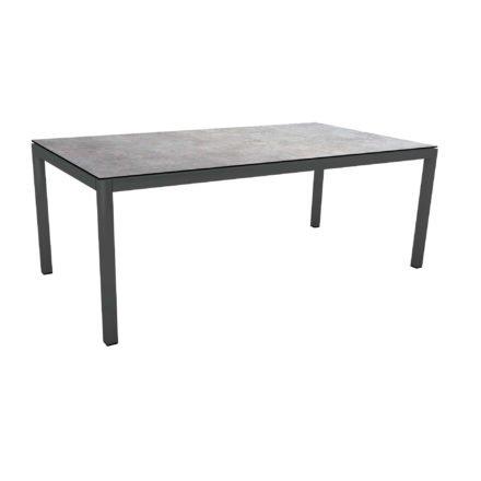 Stern Tischsystem Gartentisch, Gestell Aluminium anthrazit, Tischplatte HPL Metallic grau, Maße: 200x100 cm