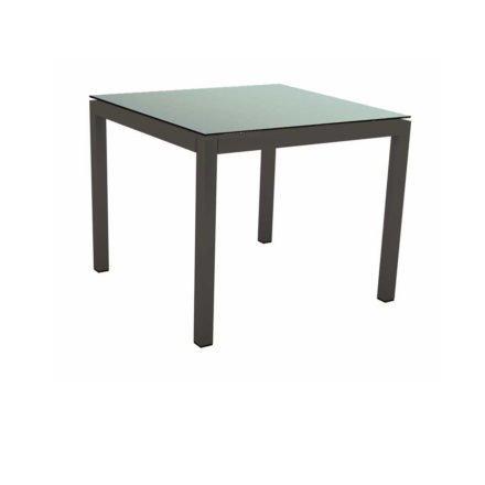 Stern Tischsystem Gartentisch, Gestell Aluminium anthrazit, Tischplatte HPL Nordic green, Maße: 80x80 cm